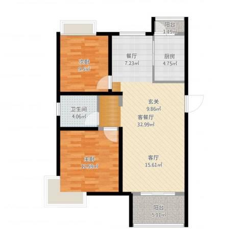 天房美域二期2室2厅1卫1厨88.00㎡户型图