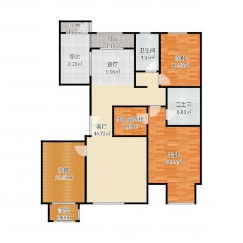 亿利城文澜雅筑3室1厅2卫1厨156.00㎡户型图