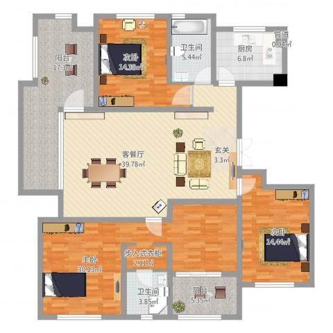 金地国际花园3室2厅2卫1厨196.00㎡户型图