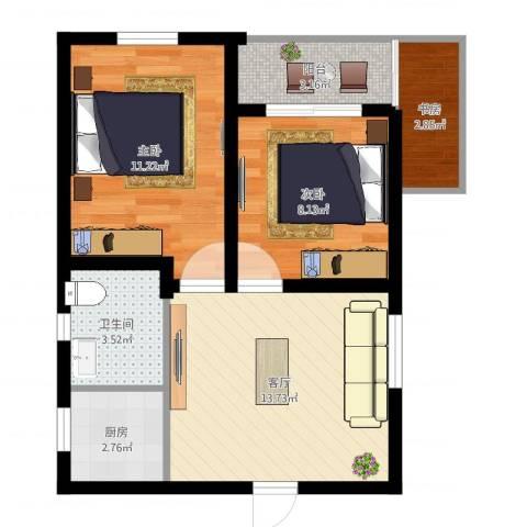 乾溪三村3室1厅1卫1厨57.00㎡户型图