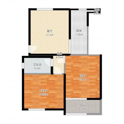 南苑七村2室1厅1卫1厨79.00㎡户型图