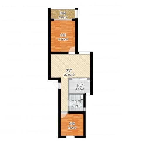 佳虹小区2室1厅1卫1厨69.00㎡户型图