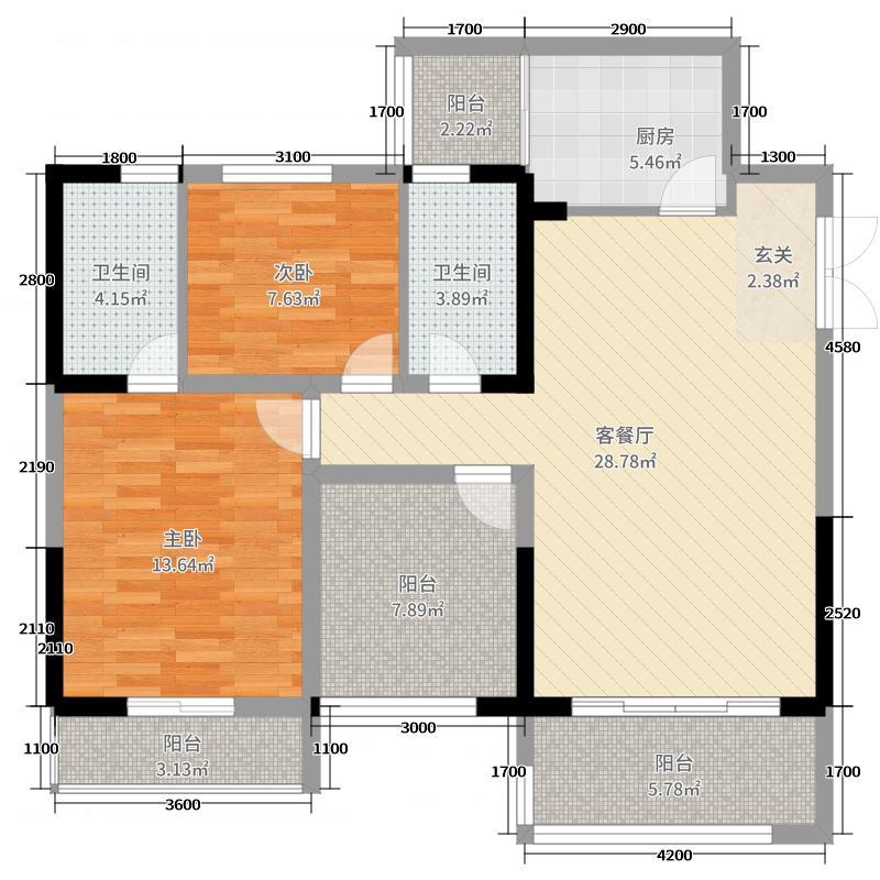 凤翎锦绣12.62㎡1号户型2室2厅2卫1厨