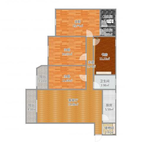 冠英园西区4室2厅3卫1厨140.00㎡户型图