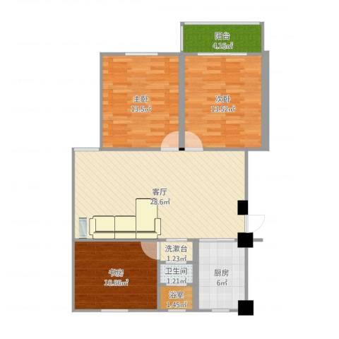 融康苑3室1厅1卫1厨100.00㎡户型图