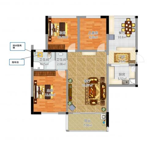 天明城3室1厅2卫1厨117.00㎡户型图