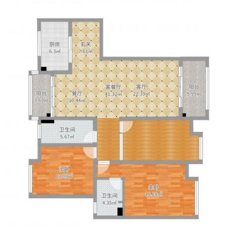 东台海陵首府4-15032室2厅2卫1厨141.00㎡户型图