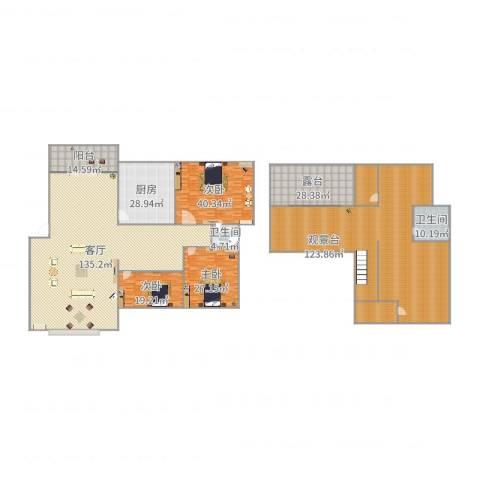 鑫苑城市之家3室1厅2卫1厨559.00㎡户型图