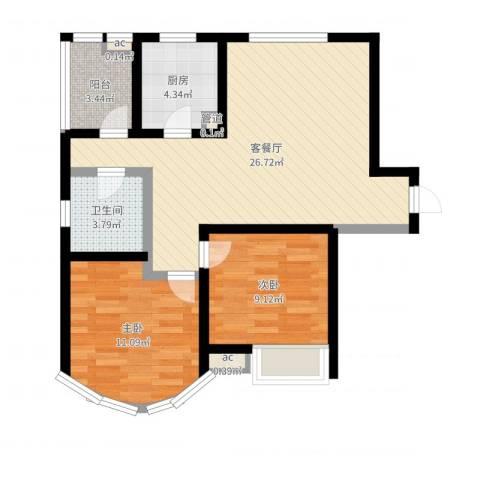 纯翠香山2室2厅1卫1厨74.00㎡户型图