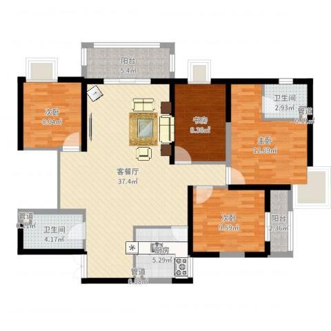 新兴骏景园二期4室2厅2卫1厨121.00㎡户型图