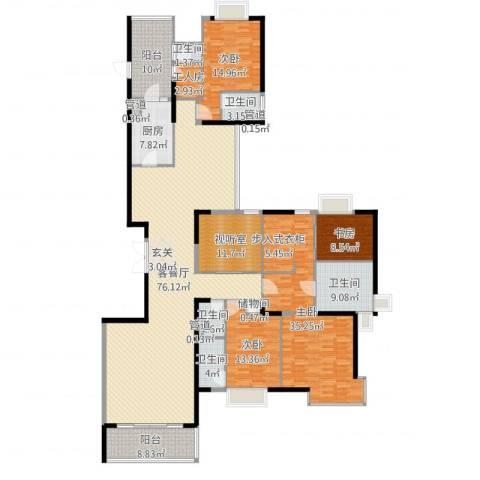 丽江花园丽波楼4室2厅5卫1厨264.00㎡户型图