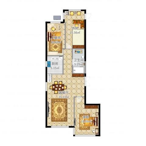 尚诚国际3室2厅1卫1厨106.00㎡户型图