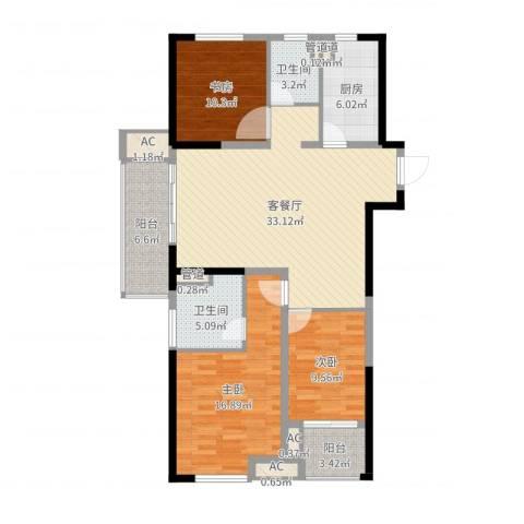 民生・瞰江郡3室2厅2卫1厨121.00㎡户型图