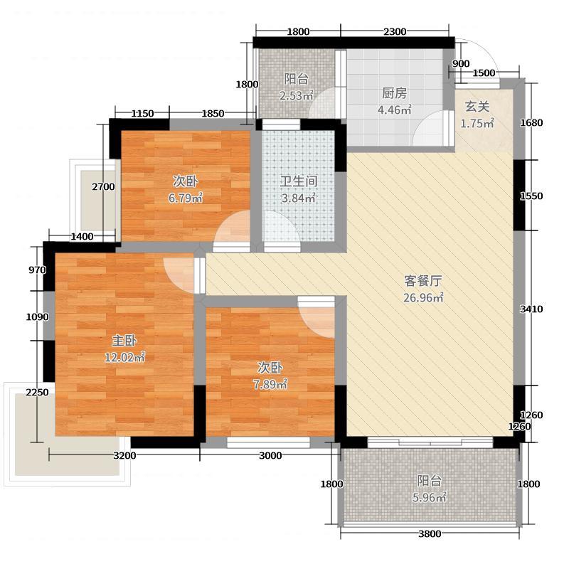 凤翎锦绣322.62㎡F户型3室2厅1卫1厨