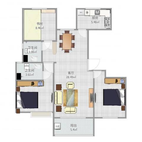 冠捷・观邸3室1厅2卫1厨95.00㎡户型图