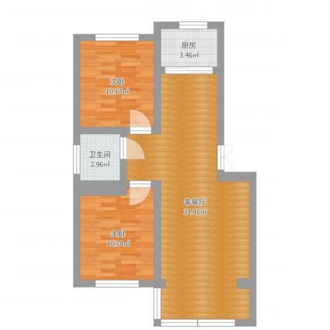 东关新村新城花园2室2厅1卫1厨58.41㎡户型图