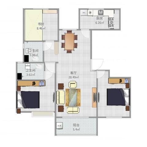 冠捷・观邸3室1厅2卫1厨96.00㎡户型图