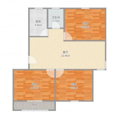 平阳一村3室1厅1卫1厨84.00㎡户型图