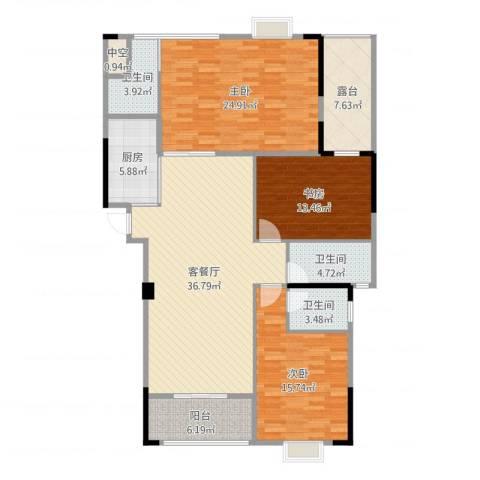 运河名都3室2厅3卫1厨155.00㎡户型图