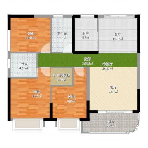 锦盛恒富得3室2厅2卫1厨119.00㎡户型图