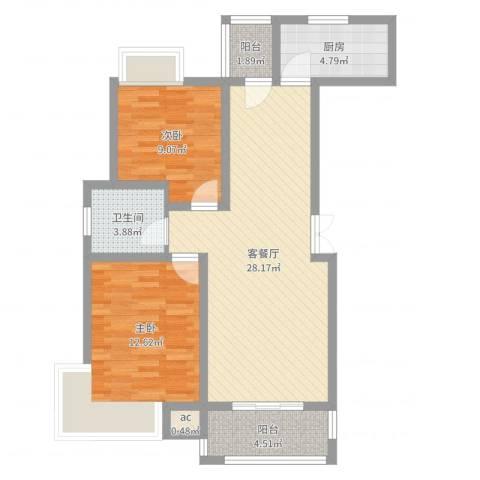 绿地国际花都2室2厅2卫1厨82.00㎡户型图