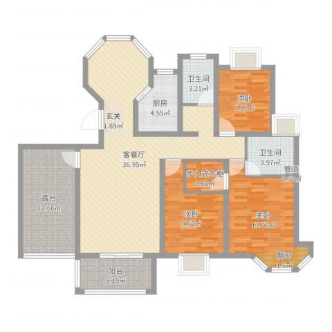 水榭花城3室2厅2卫1厨125.00㎡户型图