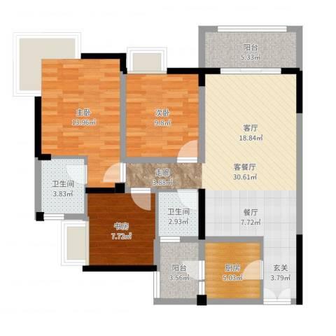 兆甲合阳新城3室2厅2卫1厨103.00㎡户型图