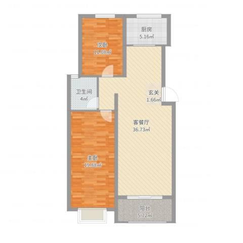 天地名都2室2厅1卫1厨103.00㎡户型图