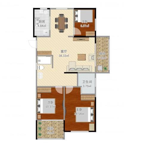 绿城之江1号3室1厅1卫1厨112.00㎡户型图