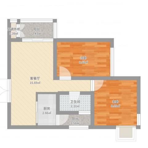 浦江宝邸2室2厅1卫1厨53.00㎡户型图