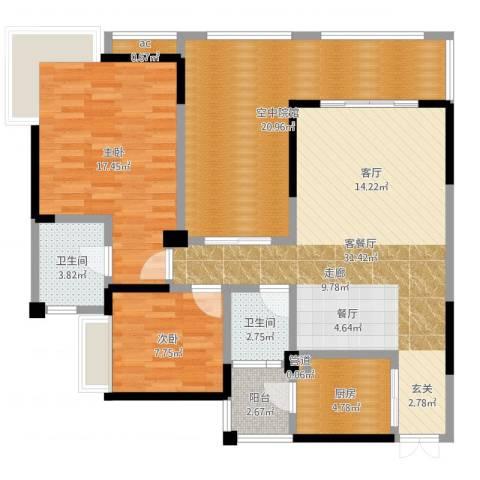 兆甲合阳新城2室2厅2卫1厨115.00㎡户型图