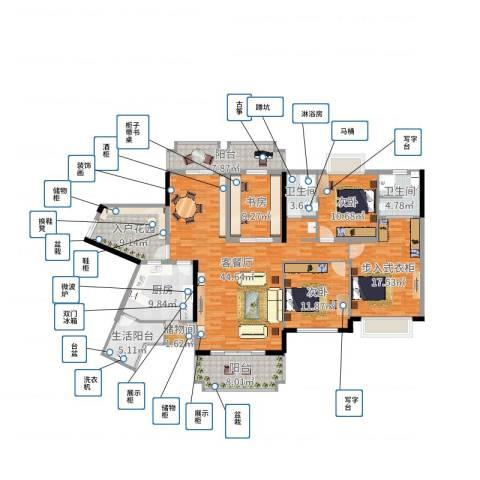 爱加西西里3室2厅2卫1厨180.00㎡户型图