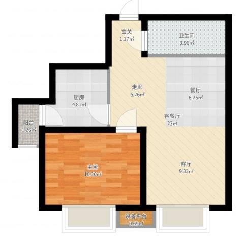 华城领秀1室2厅1卫1厨55.00㎡户型图