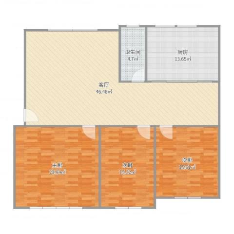 振华苑3室1厅1卫1厨149.00㎡户型图
