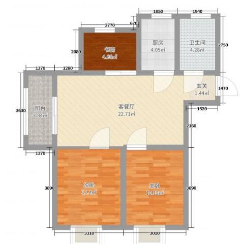 伊顿华府3室2厅1卫1厨90.00㎡户型图