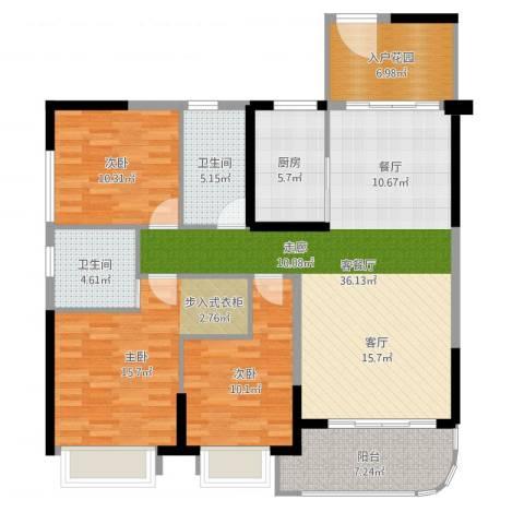 锦盛恒富得3室2厅2卫1厨127.00㎡户型图