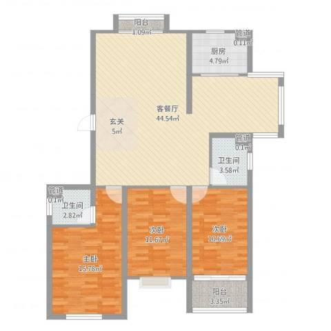 飞宇花园南区3室2厅2卫1厨123.00㎡户型图