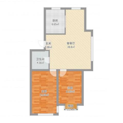 金城福邸2室2厅1卫1厨84.00㎡户型图