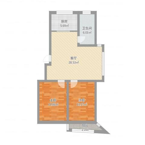 襄平蓝庭100.98-101.022室1厅1卫1厨87.00㎡户型图