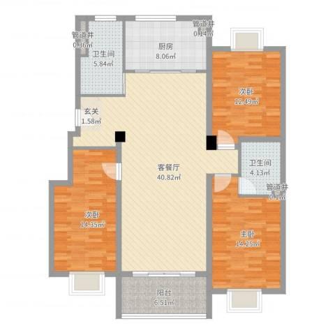文昌花园3室2厅2卫1厨151.00㎡户型图