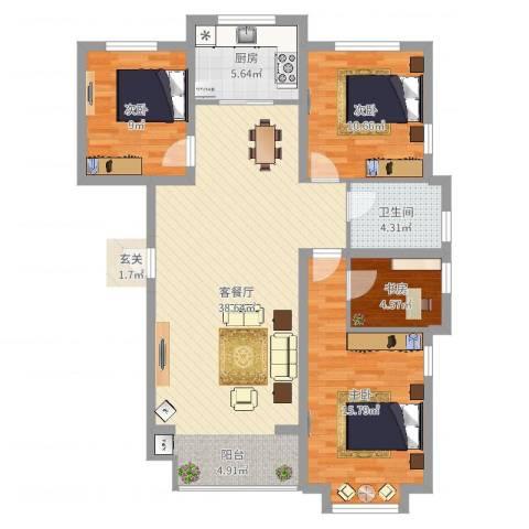 锦绣鹏城4室2厅1卫1厨128.00㎡户型图