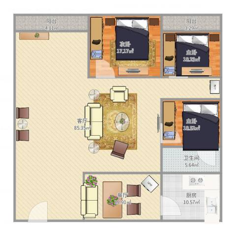 碧翠豪城3室2厅1卫1厨186.00㎡户型图