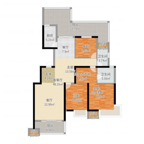 沂龙湾慧园3室2厅2卫1厨170.00㎡户型图