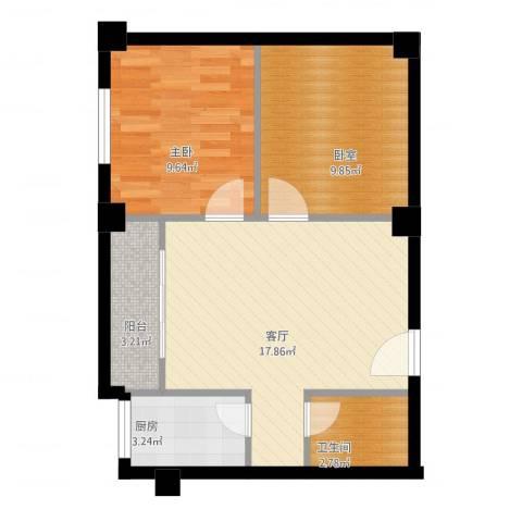 京华城怡景苑1室1厅1卫1厨66.00㎡户型图