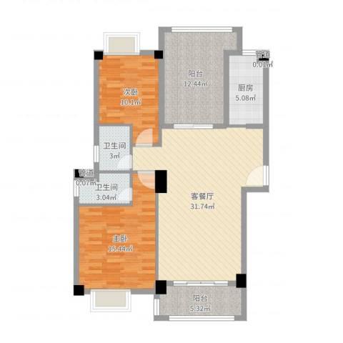 联发欣悦园2室2厅2卫1厨108.00㎡户型图