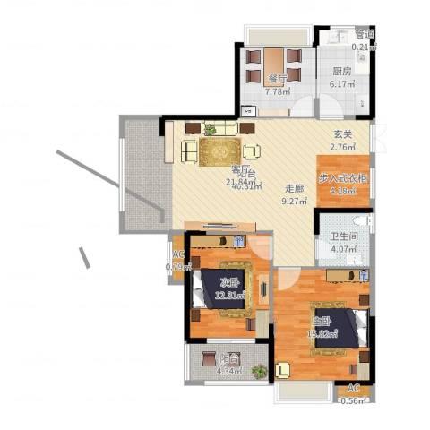 大成国际领域2室1厅1卫1厨115.00㎡户型图