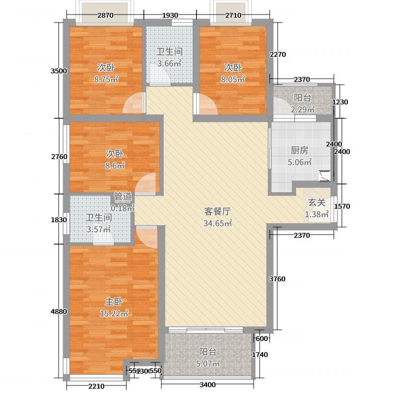 荣昌商业广场6135.32㎡6#楼K户型3室2厅2卫1厨