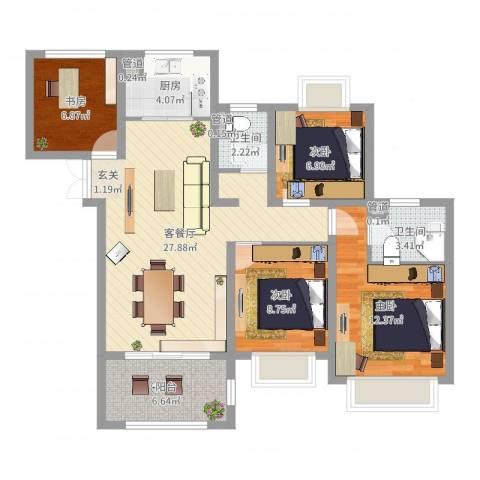如皋中南世纪城4室2厅2卫1厨100.00㎡户型图