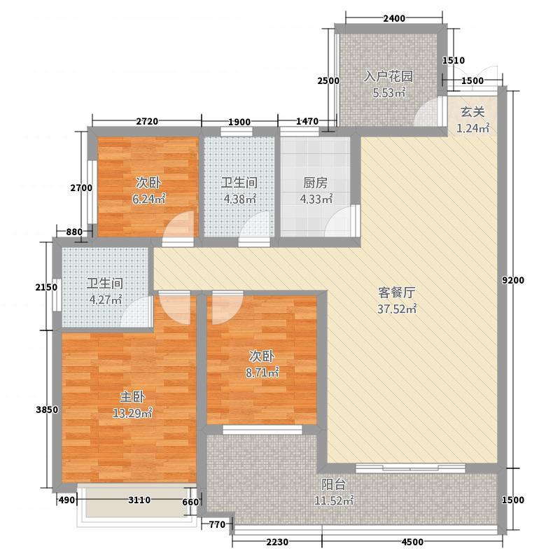 水岸铭门2134123.25㎡2#楼1-3、户型3室2厅2卫1厨