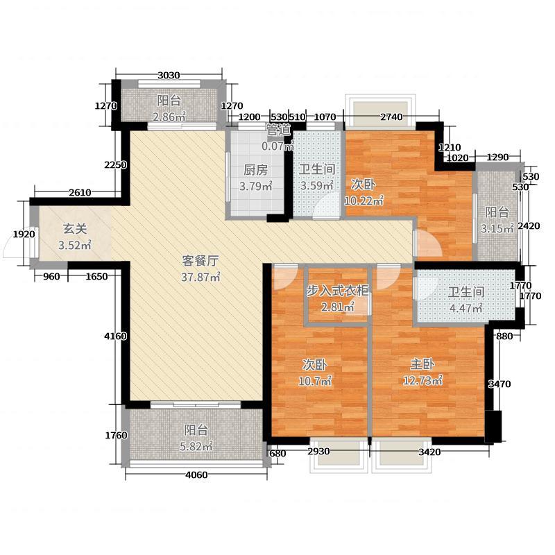 万达广场2414.20㎡D户型4室2厅2卫1厨